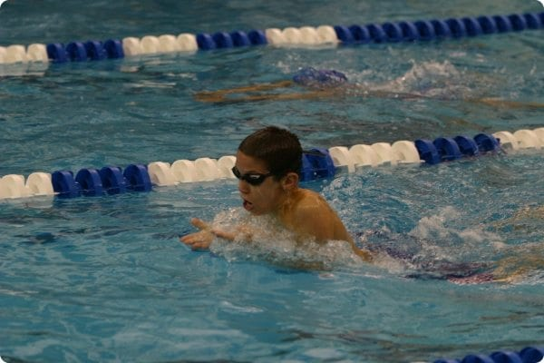 Child in competitive swimming