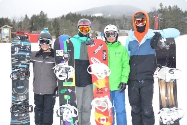 Teens at a snowboarding trip