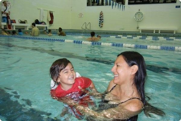 Child at a swim lesson